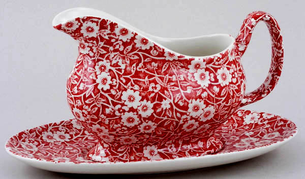 Burleigh Calico red Sauce Boat with Stand
