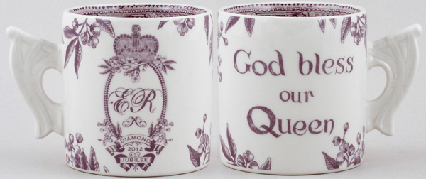Burleigh Diamond Jubilee plum Commemorative Mug