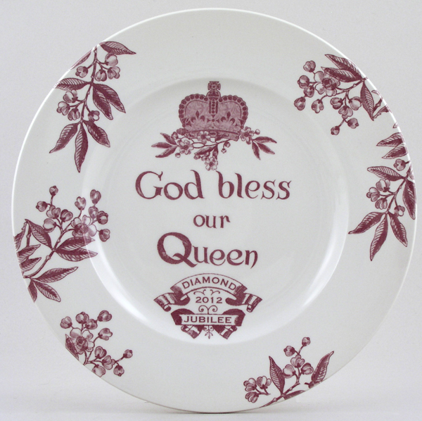 Burleigh Diamond Jubilee plum Commemorative Plate