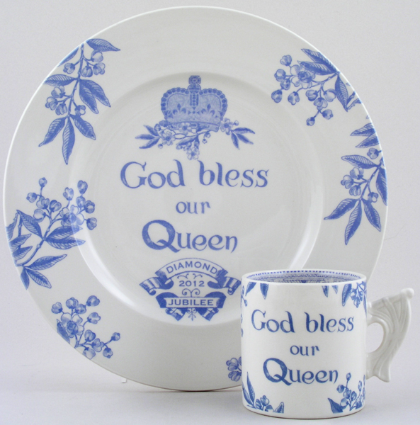 Burleigh Diamond Jubilee Commemorative Mug and Plate