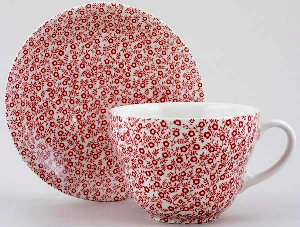 Burleigh Felicity red Breakfast Cup and Saucer