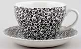 Burleigh Felicity black Breakfast Cup and Saucer