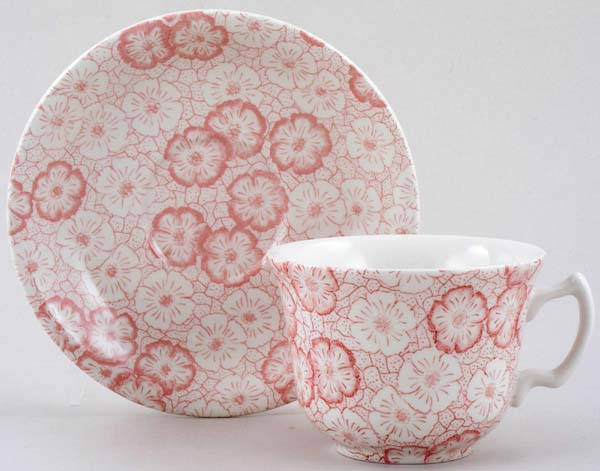 Burleigh Gentian pink Teacup and Saucer