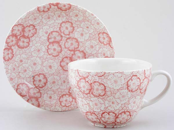 Burleigh Gentian pink Breakfast Cup and Saucer