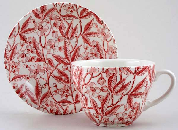 Burleigh Prunus red Breakfast Cup and Saucer