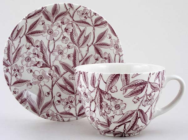 Burleigh Prunus plum Breakfast Cup and Saucer