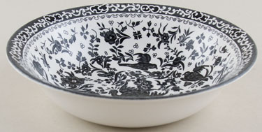 Burleigh Regal Peacock black Dessert or Soup Bowl