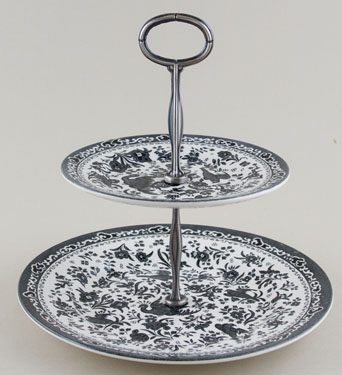 Burleigh Regal Peacock black Cake Stand 2 tier in Gift Box