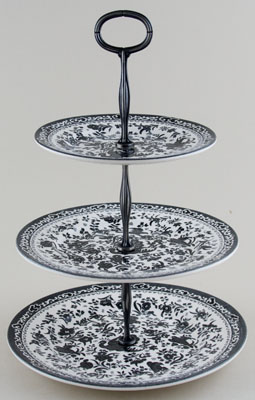 Burleigh Regal Peacock black Cake Stand 3 tier in Gift Box