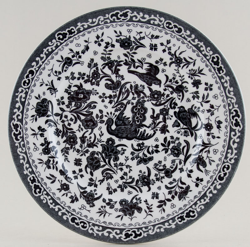 Burleigh Regal Peacock black Lunch Plate