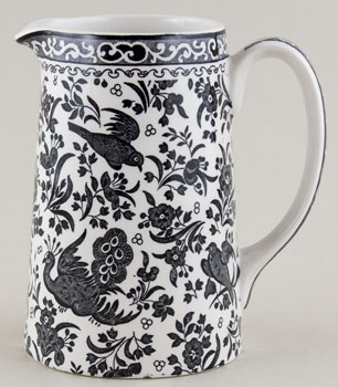 Burleigh Regal Peacock black Jug or Pitcher tankard medium