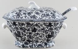 Burleigh Regal Peacock black Soup Tureen and Ladle