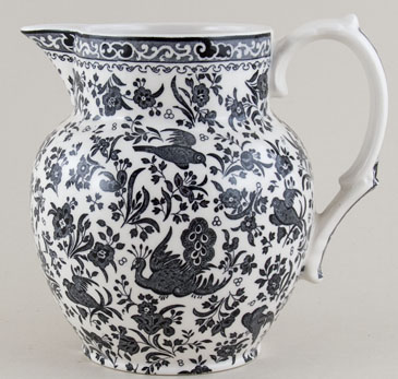 Burleigh Regal Peacock black Jug or Pitcher Etruscan small