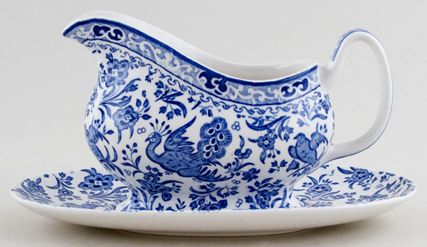 Burleigh Regal Peacock Sauce Boat with Stand
