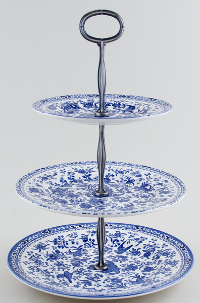 Burleigh Regal Peacock Cake Stand 3 tier in Gift Box