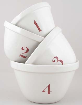 Burleigh White Ironstone Pudding Basins Set of Four