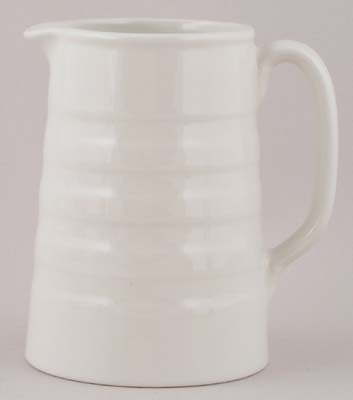 Burleigh White Ironstone Jug or Pitcher Hooped Tankard
