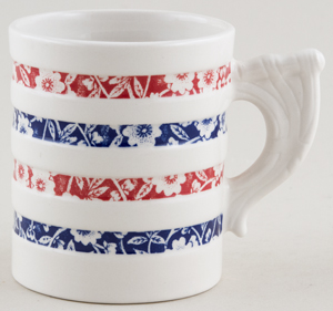 Burleigh White Ironstone Mug Hooped Red and Blue