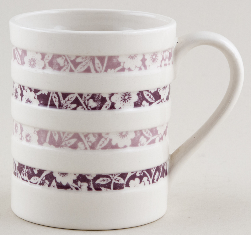Burleigh White Ironstone Mug Hooped Plum