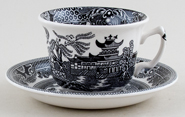 Burleigh Willow black Teacup and Saucer