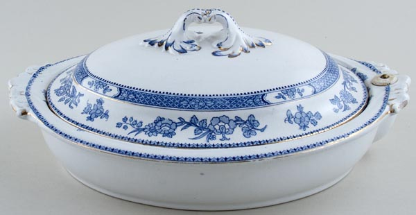 Booths Blue Border Warming Dish c1920