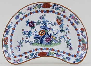 Booths The Pompadour blue with colour Crescent Side Dish c1920s