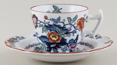 Booths The Pompadour blue with colour Coffee Cup and Saucer c1950s