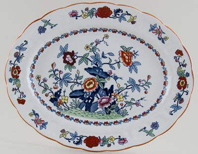 Booths The Pompadour blue with colour Meat Dish or Platter c1950s