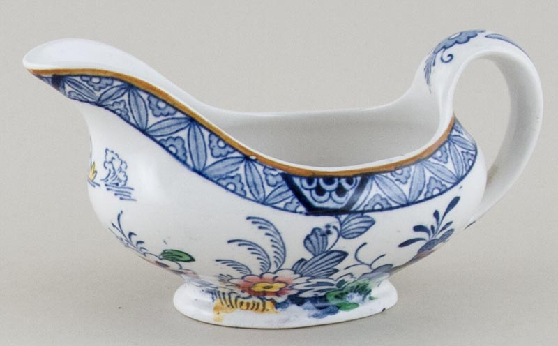 Booths Netherlands blue with colour Sauce Boat c1930s