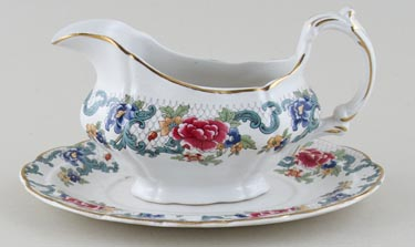 Booths Floradora colour Sauce Boat with Stand c1950s