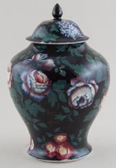 Booths Peony and Lilac colour Vase with Cover c1920s