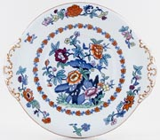 Booths The Pompadour blue with colour Cake Plate c1931