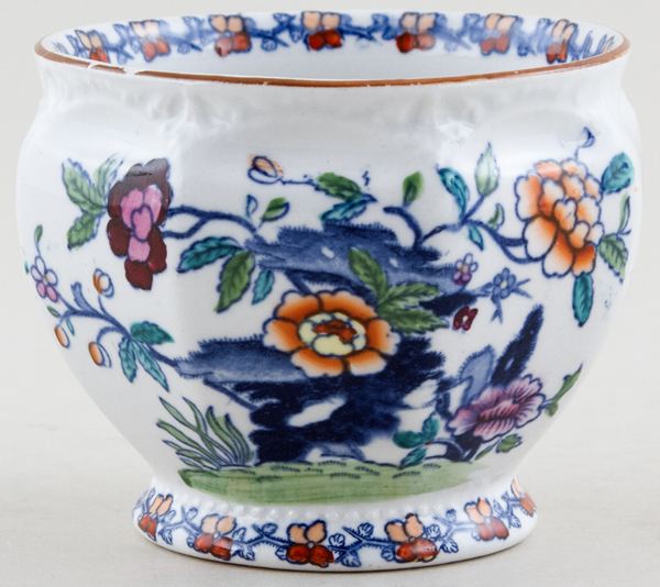 Booths The Pompadour blue with colour Cache Pot small c1930s