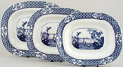 Meat Dishes or Platters Set of Three c1920s or 1930s