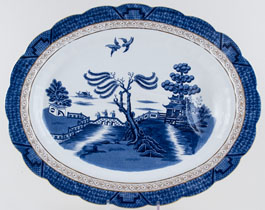 Booths Real Old Willow Meat Dish or Platter with tree and well c1920s