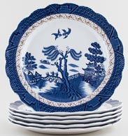 Booths Real Old Willow Plates Set of 6 c1950