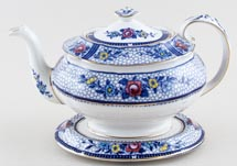 Burgess and Leigh Premier blue with colour Teapot and Stand c1920