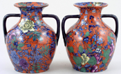 Cauldon Chinese colour Vases pair of Portland c1900