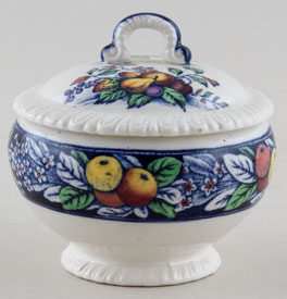 Cauldon Seville blue with colour Covered Pot c1950s