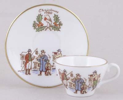Caverswall Christmas Series colour Miniature Cup and Saucer c1980