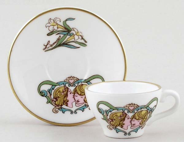 Caverswall Unidentified Pattern colour Miniature Cup and Saucer c1980s