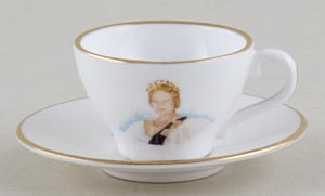 Caverswall Unidentified Pattern colour Miniature Cup and Saucer Queen Mother c1980s
