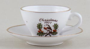 Caverswall Christmas Series colour Miniature Cup and Saucer c1977