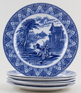Cauldon Chariot Plates set of 6 c1932