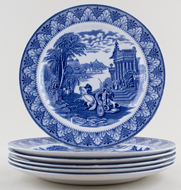 Cauldon Chariot Plates set of 6 c 1933