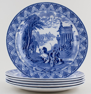Cauldon Chariot Plates set of 6 c1933