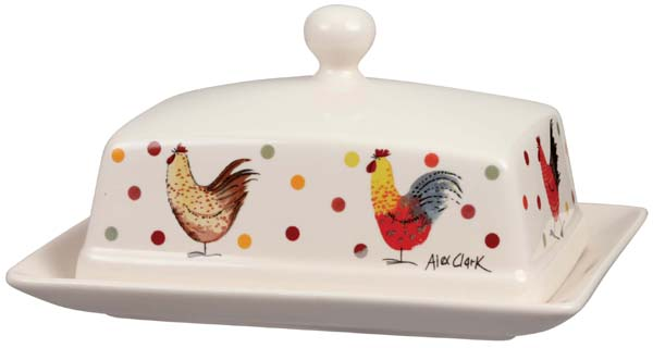 Queens Alex Clark Rooster colour Butter Dish rectangular with cover