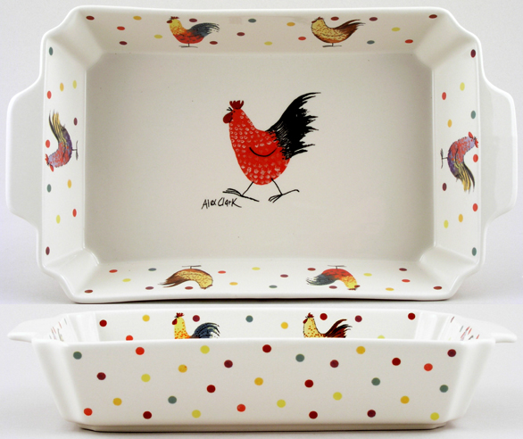 Queens Alex Clark Rooster colour Roaster rectangular ovenproof