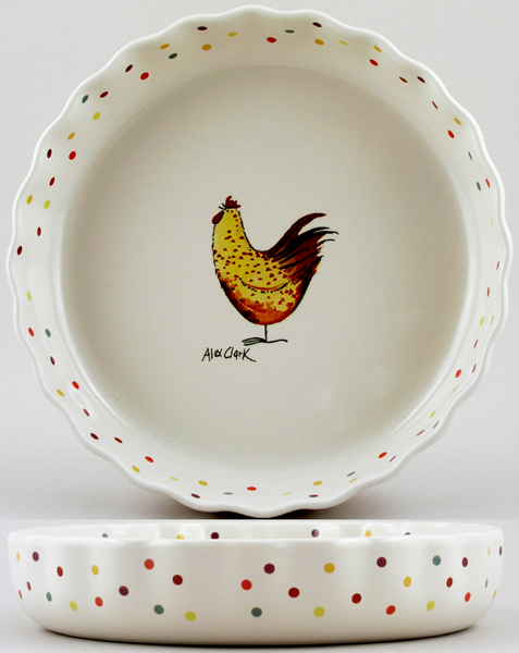 Queens Alex Clark Rooster colour Flan Dish ovenproof