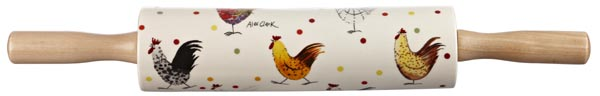 Queens Alex Clark Rooster colour Rolling Pin